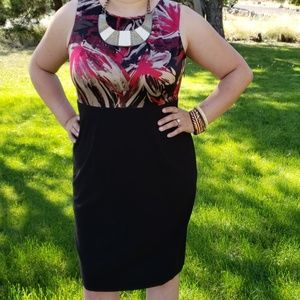 212 Collection Black Gold Maroon Pencil Dress 14